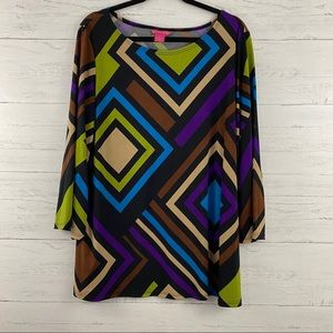 Sunny Leigh Retro Colorful Print Blouse